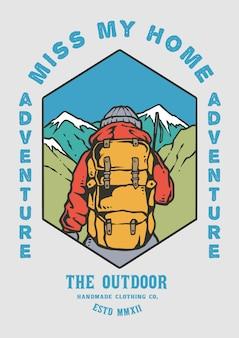 Uomo di viaggiatore con zaino e sacco a pelo che fa un'escursione con la bella illustrazione della montagna in retro 80