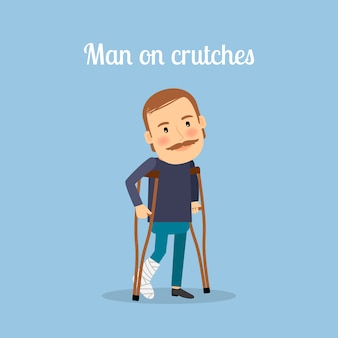 Uomo disabile con le stampelle