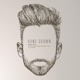 Uomo disegnato a mano con la barba