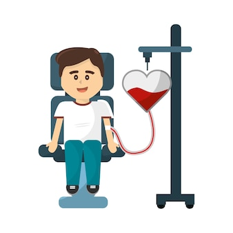 Uomo donando icona di sangue
