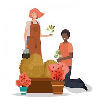 Uomo donna e concetto di giardinaggio