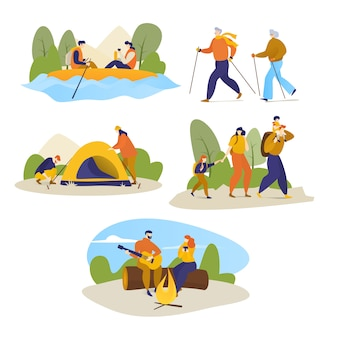 Uomo, donne, viaggio d'escursione dei bambini all'aperto sull'illustrazione di trekking di aumento isolata su bianco.