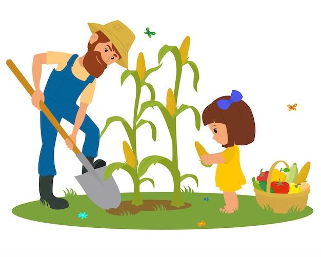 Uomo e bambina che raccolgono cereale.