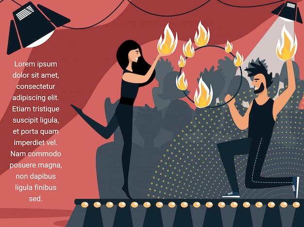 Uomo e donna ballare e giocoleria con il fuoco.