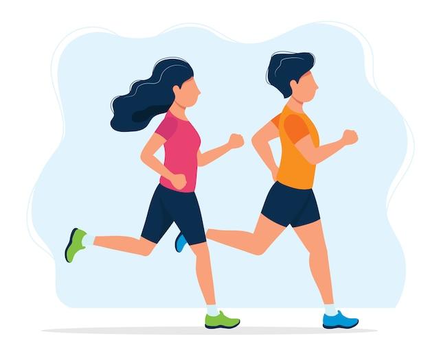 Uomo e donna che corrono
