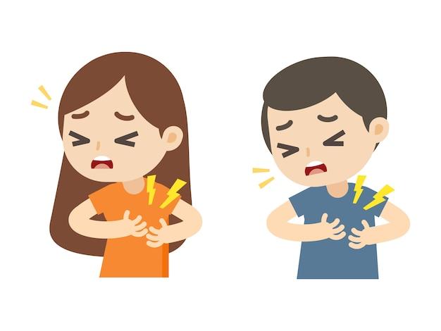 Uomo e donna che hanno un attacco di cuore con il fumetto di dolore toracico, illustrazione vettoriale.