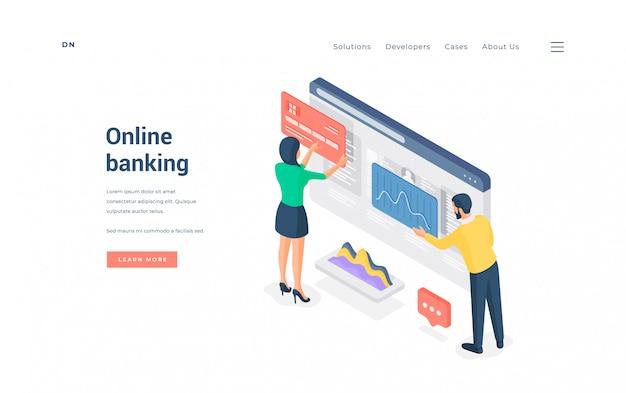 Uomo e donna che inseriscono le credenziali della carta di credito e analizzano i dati sulla bandiera di vettore del servizio bancario in linea di pubblicità del sito web