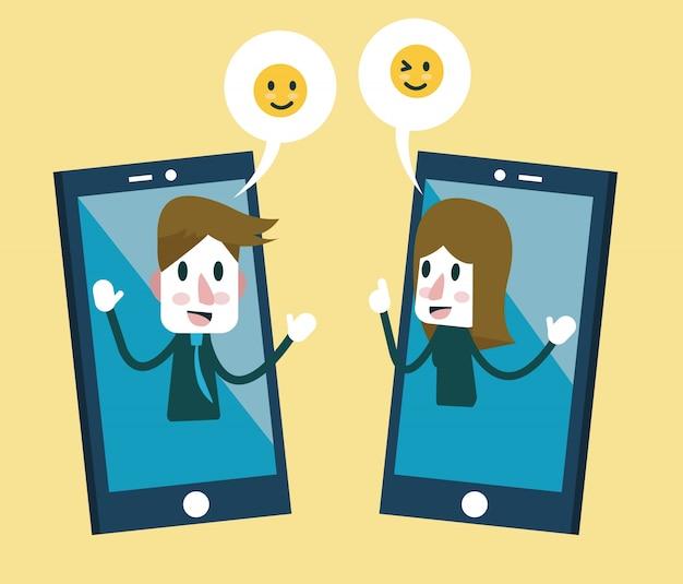 Uomo e donna che inviano adesivi di emozione sullo smartphone. disegno di carattere piatto. illustrazione vettoriale