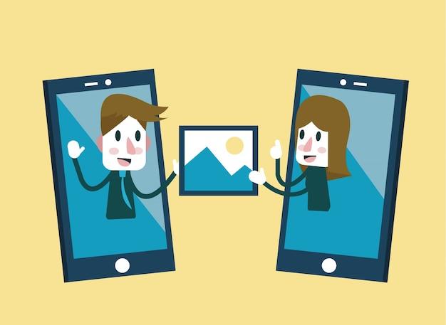 Uomo e donna che inviano e condividono l'immagine su smartphone. disegno di carattere piatto. illustrazione vettoriale