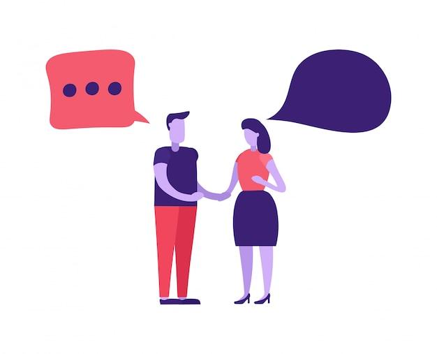 Uomo e donna che parlano in chat online
