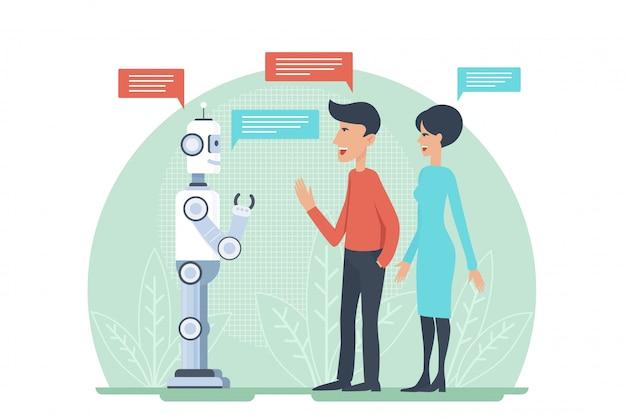 Uomo e donna che salutano e che parlano con il illustratrion di vettore del robot di androide di intelligenza artificiale. cooperazione ai.