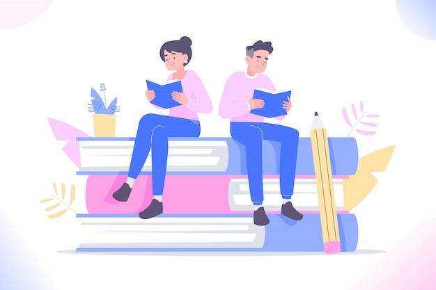 Uomo e donna che si siedono su libri enormi e libro di lettura
