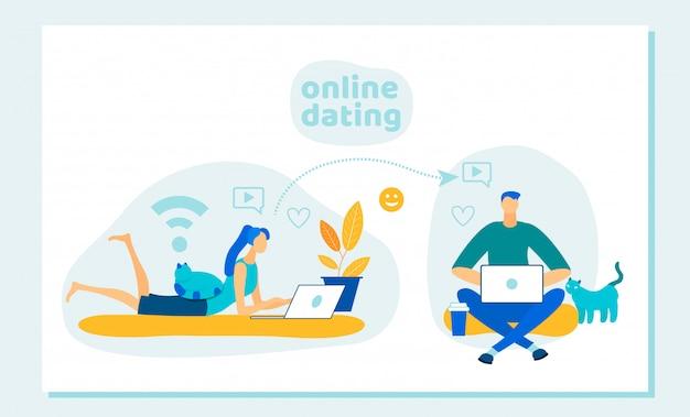 Uomo e donna che utilizzano sito web o cellulare per incontri