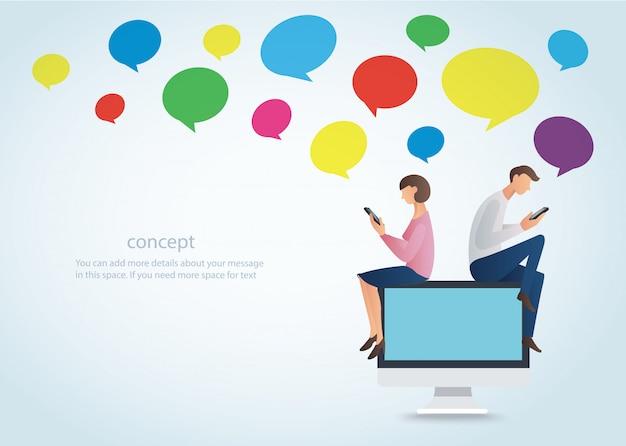 Uomo e donna che utilizzano smartphone con chat colorata