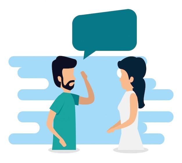 Uomo e donna con comunicazione bolla chat
