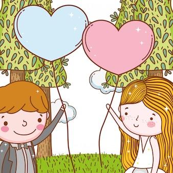 Uomo e donna con cuori palloncini e alberi