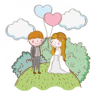 Uomo e donna con cuori palloncini e nuvole