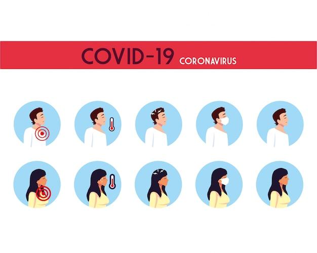 Uomo e donna con disegno vettoriale di sintomi di virus covid 19
