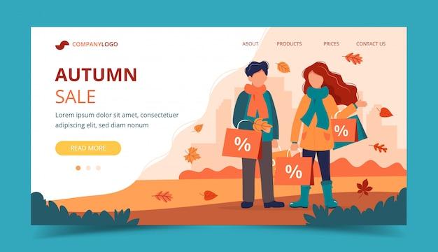 Uomo e donna con i sacchetti di vendita in autunno. modello di pagina di destinazione.