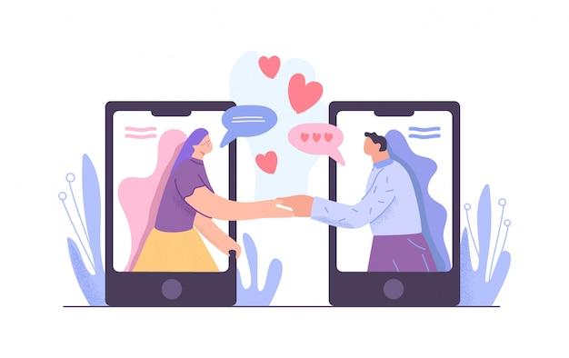Uomo e donna del fumetto che si tengono per mano riunione all'illustrazione piana di app di datazione