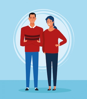 Uomo e donna del fumetto che stanno e che indossano i maglioni rossi