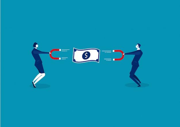 Uomo e donna di affari che tengono un grande magnete e che attraggono soldi. illustrazione di concetto di attrazione di investimento