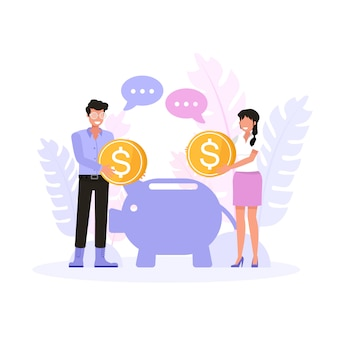 Uomo e donna felici che risparmiano soldi per il futuro. set di caratteri.