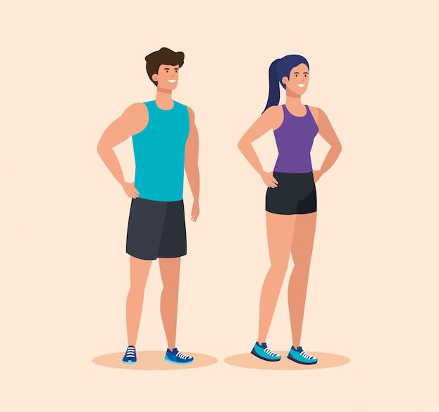 Uomo e donna in buona salute per attività sportiva