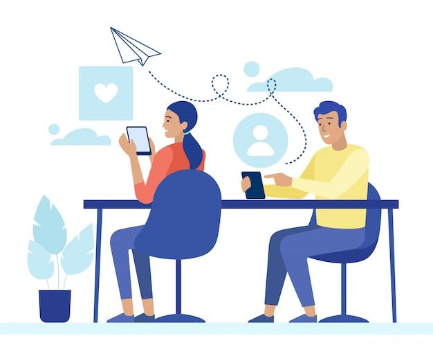 Uomo e donna in chat e messaggistica per telefono