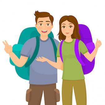 Uomo e donna in piedi con zaini da trekking