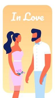 Uomo e donna innamorata, ragazza carina tenere bouquet