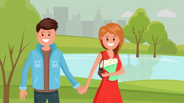Uomo e donna nel parco estivo