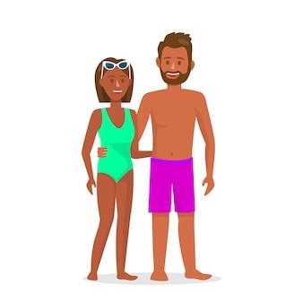 Uomo e donna nell'illustrazione di vettore dei costumi da bagno.
