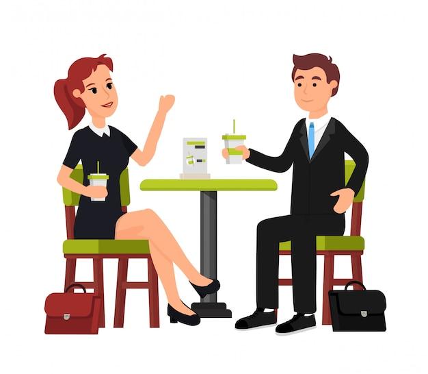 Uomo e donna nella caffetteria