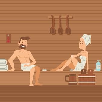 Uomo e donna nella sauna
