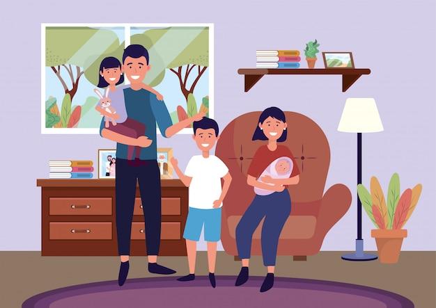Uomo e donna sulla sedia con figlia e figli