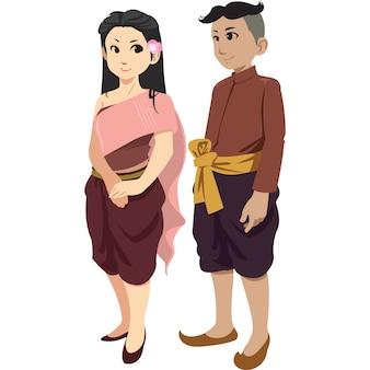 Uomo e donna tailandesi nell'abbigliamento tradizionale isolato su fondo bianco.