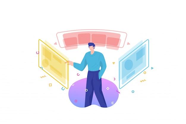 Uomo e illustrazione di selezione dello schermo virtuale
