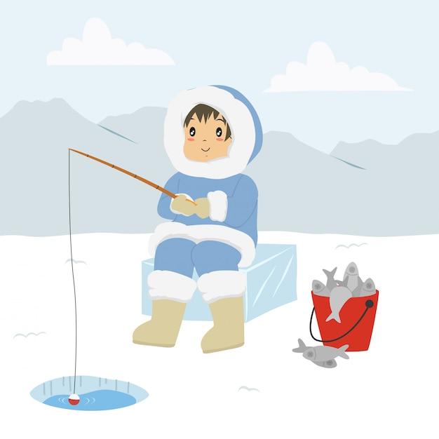Uomo eschimese che pesca attraverso la buca di ghiaccio