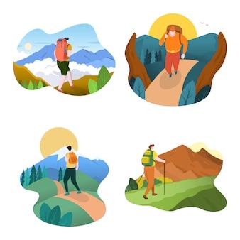 Uomo escursionista con zaino a piedi verso la cima del design piatto di montagna