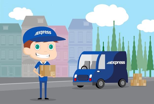 Uomo espresso e suo camion