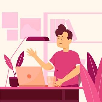 Uomo felice alla sua scrivania a parlare con i suoi amici