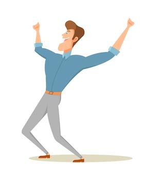 Uomo felice che alza le braccia.
