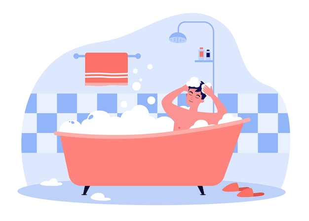Uomo felice che cattura bagno nella vasca da bagno con illustrazione di schiuma. personaggio dei cartoni animati che lava testa e capelli con shampoo, sapone, acqua. igiene e concetto di routine quotidiana