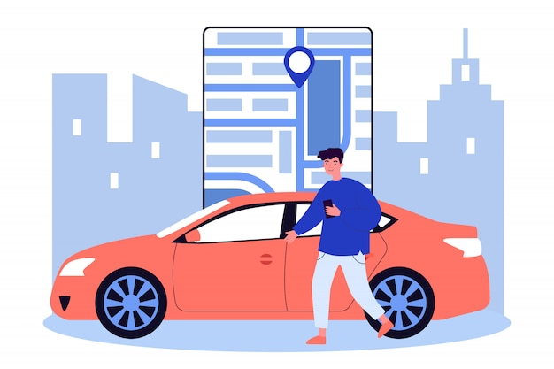 Uomo felice che usando app car sharing