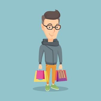 Uomo felice con l'illustrazione di vettore dei sacchetti della spesa.