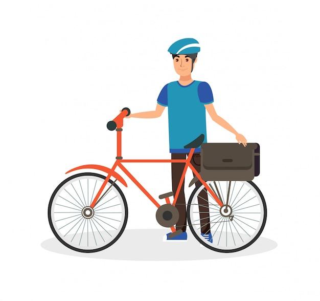 Uomo felice con l'illustrazione di vettore piano della bicicletta