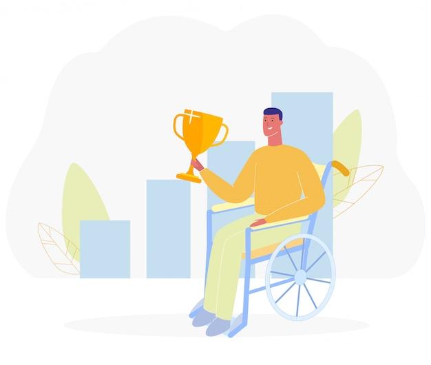 Uomo felice del fumetto in sedia a rotelle tenere coppa d'oro