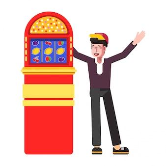 Uomo felice del vincitore all'icona del fumetto di vettore di slot machine jackpot