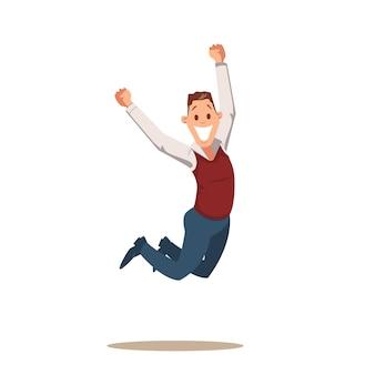 Uomo felice di affari che celebra la vittoria saltando